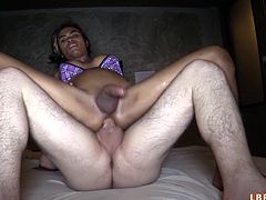 Cambodian ladyboy Jazzi picked up in Thailand to get POV fucked bareback and fill it to the brim with sticky sperm. At the end still hard dick enters creamed hole - unforgettable view!