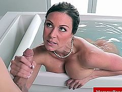 Hot milfs hj and bj in the bath for dude