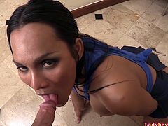 Horny sexbomb ladyboy Kyrha wearing a supergirl singlet and schoolgirl skirt is fucked bareback in the kitchen and loaded with a hot creampie!