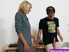 Juicy amateur-mom teacher Yvonne playing with one of her student cock and the condom that she uses to make the lucky boy cum