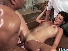 Hot house wife is brought to a porn set to show her husband how she can fucked another guy. 