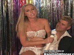 This is one lucky fan tonight! Southern Blonde Brynn Tyler and Cute Teen Tanner Mayes give an amazing handjob and swap some sperm! Tanner has a nice tight tan teen ass!