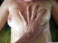 Sexy masked amateur covered in oil to stroke his dick