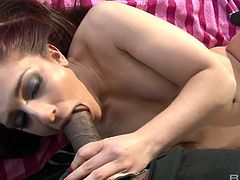 Lecherous ginger hoe Mischa Brooks is sucking and fucking big dick