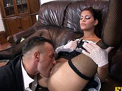 Fhuta - This naughty maid lets her master stick it up her as