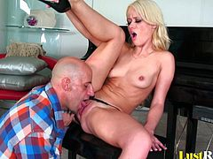 Meeting and fucking this pretty chick is every man's hot dream, and after seeing this you will know why. Blonde Rebecca Blue might have a pair of tiny tits, but her drenched pussy is everything you really need!