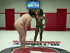 It's hard to believe, but this slender ebony babe won the fight against this redhead fatty. She is two times smaller, but three times stronger and it was an interesting, breathtaking fight. Watch huge Mimosa, licking Kelli's armpits and sucking the winner's strapon. Unscripted brutal sex wrestling!