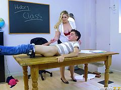 Yesterday, I had steamy sex session with my teacher and classmate at school. I was on table, when they were sucking my cock. My classmate removed her bra and put her big melons on my face, while my teacher was busy with handjob. Emma took my cock in her pussy and Ashley made me lick her nipples, and finger her ass.
