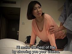Advanced level Japanese nanpa as a client of a hotel masseuse turning the tables by offering her a specialized treatment that involves embarrassing stripping and oral play in HD with English subtitles