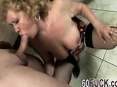 Granny Gets Dicked Down By Horny Younger Dude With Big Cock