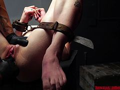 My sex slave Lydia Black, appreciate the way I treat her. With metal collar on her neck, naked and in chains, she obediently opens her mouth wide, for my big hard member. Watch her sucking my dick and balls, on knees, submissively. Enjoy impetuous sex action and breathtaking punishment!