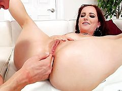 Mark Wood stretches gorgeous Maci Mays butthole with his stiff love wand to the point of no return before dick sucking