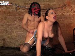 Horny Larissa Gold is always back for more. She takes her sex slave and makes him piound her juicy white ass till she cums and gets cummed on.