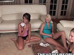 Three amateur babes playing some strip poker together