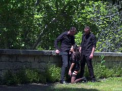 While she was sucking one guy's dick, another guy fucked her from behind. I just stood and stared at them, not knowing what to do. I met them, just walking in the city park, and so was quite surprised to see them there. It seems she enjoyed the process and even moaned from time to time. Have fun!