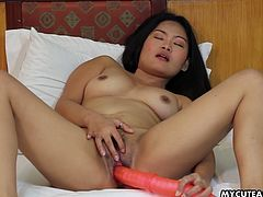 Cute Asian fucks her twat with giant dildo