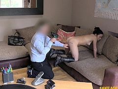 The fake agent promised Rina a big role, if she will show her bold side. He asked her to undress herself and play with her titties. She was stimulating her cunt and moaning. Her pussy was completely wet, while she was enjoying fingering herself. The agent slid two fingers in her ass hole, grabbed her boobs and..