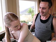 Sometimes siblings fuck each other, especially if they're really hot step-siblings. Sometimes it's other relations, like cousins, who get it on. Abi gets banged in the kitchen by her randy cousin, then gets ready to take his load in her young mouth.