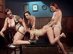 Arabelle Raphael was roughly humiliated by the horny lesbian trio. Busty Chanel Preston and big assed Bella Rossi, were using her from both sites simultaneously, while Mistress Kara was masturbating, enjoying the exciting view. Join hot lesbian foursome with elements of domination! Have fun!