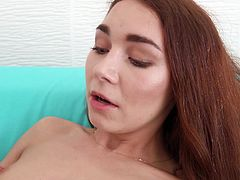 Stacy's having a bad day. Her car broke down and she needs a ride to work. After seeing the hot guy that stops for her, she lets him play with her little boobs. At this point, she says fuck work and goes back to his place. The adorable ginger is quickly naked and being eaten out by her new lover.