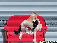 hot sapphic girlfriends licking and kissing on public sexfair porn stage