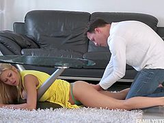 Alexis was just cleaning under the table, and somehow, she got stuck! Not a good thing to happen in a dress, when your perverted new stepson is around. She asks for help, but he helps himself to her pussy instead, using his fingers and tongue for now.