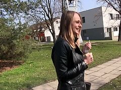 I tried to pick up this hot blonde chick, to fuck her in public, but it was really hard this time. She was so shy and stubborn at first, that I thought that I have no chance. But her shyness slowly disappeared, after I offered her more money... Watch Ivana, sucking my dick in public. Have fun!