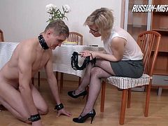 Dayan will punish her slave by taking a leak on his face!