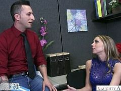 Shawna Lenee deepthroats a dick on her desk in the office - Naughty America