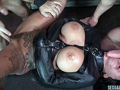 Lily came in our office to break the business deal, our boss was really disappointed, so he send her with us in a special room... where she was fucked brutally. I removed her panties, tied her hands and drilled her asshole on the table, from behind. While the other guy fucked her throat roughly.