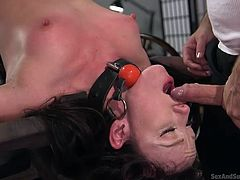 To upside-down in this nifty chair! Jennifer gets Tommy's fingers rudely stuffed in and out of her asshole. He flips the chair, so she's upside-down, where her mouth is perfectly in line to start sucking his dick, like a good little slave.