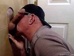 For some reason I get a lot of soccer dads wanting to visit my gloryhole. This dad wants to throat fuck me and then decides hed like a taste of my cum, as well. That hole goes both ways, so I feed him my hard dick and he sucks the cum from it. We finished just in time for him to rush back to the soccer game.