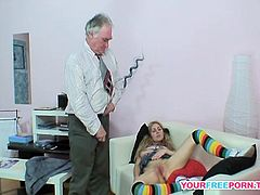 My wife adores hardcore sex action with an older man. He was a birthday gift to her. I called him right after she was done with masturbation. What comes next, go see for yourself...