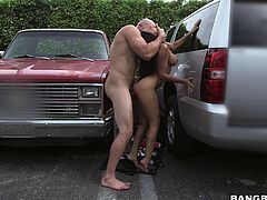 My neighbor's wife is a bad driver, she hit my car in the parking lot. She wanted to quickly resolve the conflict, so when I asked for compensation, she instantly removed her bra. I eagerly squeezed her big melons, before she pressed my dick between them. I lifted her leg and fucked her right here...