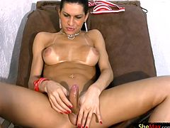 One of the hottest shebabes on the planet Renata Araujo caresses her big tits and pushes that big butt in the air wearing nada but red panties. She jerks her ladystick and tickles her massive ass...