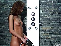 Watch this sexy tiny Euro babe Sophie Lynx taking a fine erotic shower and getting pounded in her tight Euro pussy by a big hard cock.