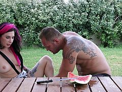 I wanted threesome with my husband and my friend Joanna, so I asked her to seduce him. I left them alone in the garden and waited, until they started kissing. I offered to forgive him for cheating, if he would get ready for the threesome. Joanna was sucking my big boobs, while he was eating her pussy from behind...