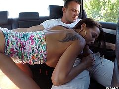 Euro hottie Satin, will fuck anytime and anywhere. The beach is one of her favorite spots, but she also likes to suck monster dong in the back of a van. She works the whole cock from balls to tip, as her ass is firmly grabbed.