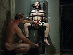 Now, this chair is not the type of chair you might be thinking of with that title, but it's not strictly for pleasure either. Seamus is strapped in with electrodes all over, even to cock ring, that's on him right now. Watch the shocking sex!