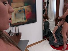 Aliana is busy gulping down Chad's sausage, while Athina gets the honor of getting on her knees and sucking Rocco's big meat. All the action is awesome, so subscribe to Rocco Siffredi today!