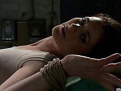 Tied Up Redhead Woman Is Fucked By Vibrator Strapon And Fist
