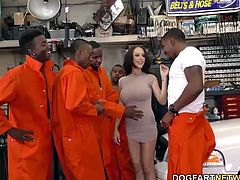 Stripper McKenzie Lee gets fucked by a group of black men while her policeman husband watches. McKenzie gets all her holes filled with big black cock. Amazing anal gangbang scene!!!