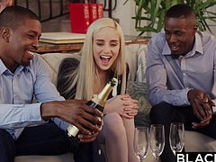 Naomi goes to party with Jason and Isiah, as she's feeling a little down. They're friends, so why not hang out, right? The guys break out the bubbly and she's ready to start sucking and fucking those big black dicks. Hear her moan, as that little white hole is stretched by chocolate pole.