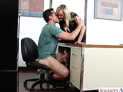My colleague caught me, while I was enjoying with my lover in the office and it became hardcore threesome. When I was licking her pink pussy lips, my lover was eating busty milf's pussy and three of us enjoyed it very much. I am the happiest person, as I fucked two busty milfs at the same time.