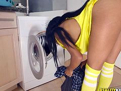 While she was doing the laundry, her husband's best friend walked up behind her and fucked her, while her head was in the dryer. She wanted to turn around and see him, but she made due with the hard fucking her pussy, took from that thick, white cock. The ebony beauty tugged him, deepthroated and took his cock deeper.