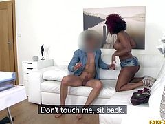 Jasmine came here for an interview and she nailed it like a pro. I am really happy, as I got such a beautiful prey to feast on. She removed her shirt and shorts, sucked my cock and inserted my big dick in her pussy. I tasted her pussy juices and I would like to screw this ebony milf one more time.