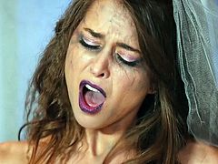 Riley Reid has always had a naughty side. She is feeling especially kinky today. This jilted bride lays back and masturbates furiously with her big black dildo, as mascara runs down her face. Relax and enjoy!