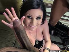 Veruca James dones on three of the biggest black cocks. Each black opportunist treats her ass and pussy. Veruca gets double penetrated by these Chicago bulls...
