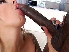 Nina is just going wild now that she has a big black cock in her hand. She doesn't want to stop sucking it, but it won't get in her pussy, if she doesn't. She lays back and spreads wide, to take that long pipe.