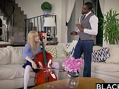 Riley is studying with her music tutor, Mr. Maxwell. After her mother goes, she forgets about the cello and wants to play with her teacher's big instrument. She gets that big black cock in her mouth and pussy, pounding her, and stretching her wide.